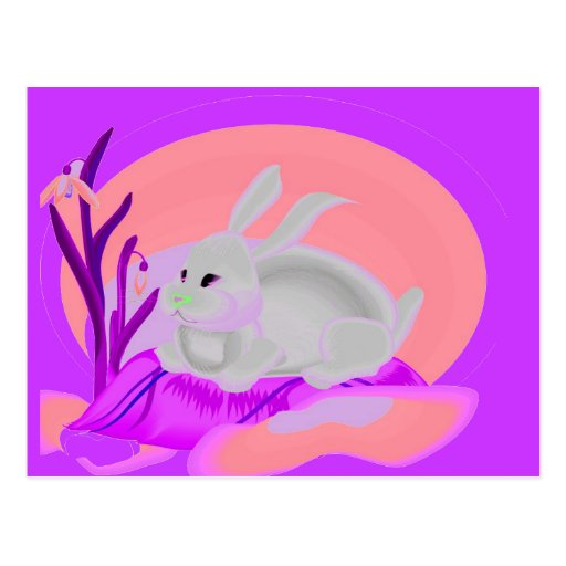 RABBITT WITH FLOWERS POST CARD