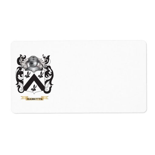 Rabbitts Coat of Arms (Family Crest) Personalized Shipping Labels