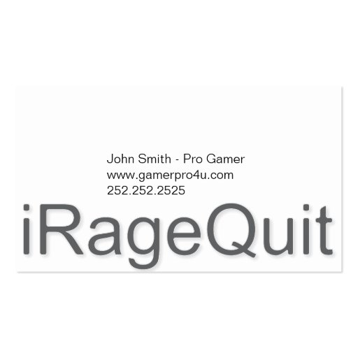 rabia del iRageQuit que abandona videojugador Tarjetas De Visita