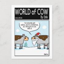 Rabid Christmas Cow Holiday Postcard