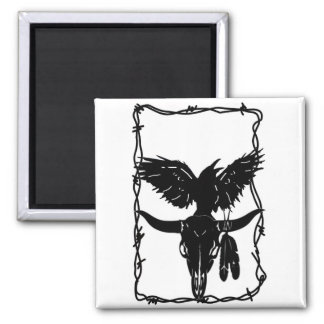 Rabid Raven and Cow Skull Magnet