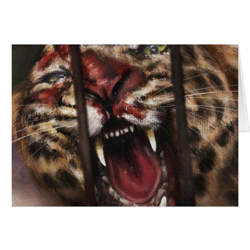 Rabie en un arte de la pintura del gato grande del tarjetón