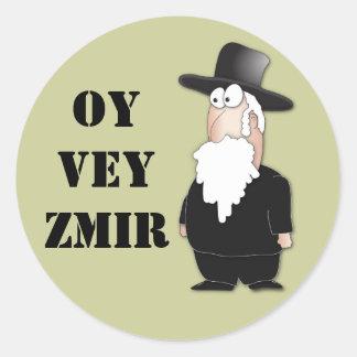 Rabino judío divertido de Oy Vey - dibujo animado Pegatina Redonda