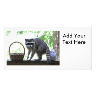 Raccoon and Cookie Jar Personalized Photo Card