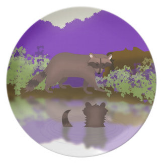 Raccoon and Cub Plate - Woodland Kitchen Decor