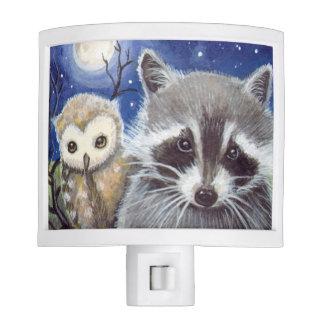 Raccoon and Cute Owl and Moon Night Light