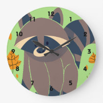 Raccoon and Fall Leaves Large Clock