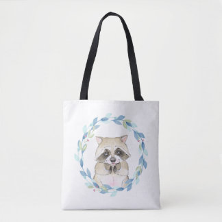Raccoon and floral wreath tote bag