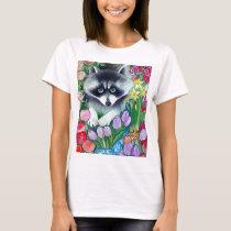 Raccoon and tulips T-Shirt