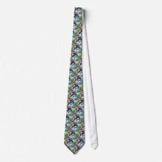 Raccoon and tulips tie