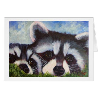 raccoon art blank notecards card