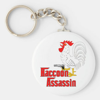 Raccoon Assassin Rooster Basic Round Button Keychain