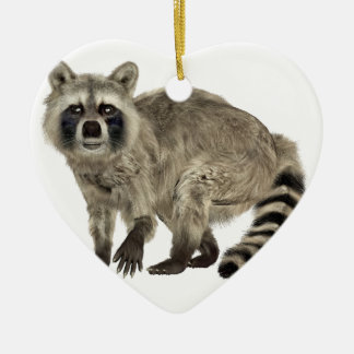 Raccoon at Attention Ceramic Ornament