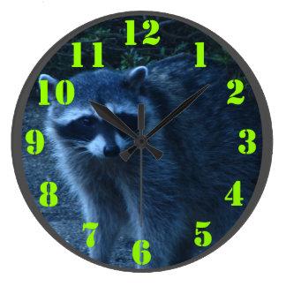 Raccoon at Dusk Wall Clocks