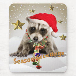 Raccoon baby Season Greetings Mouse Pad