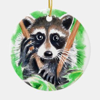 Raccoon Bandit Ceramic Ornament