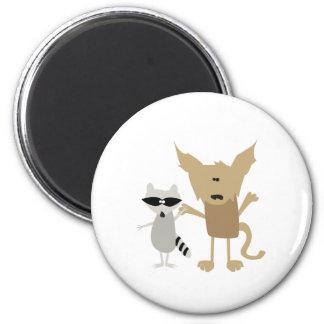 Raccoon & Bobcat 2 Inch Round Magnet