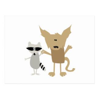 Raccoon & Bobcat Post Cards