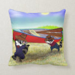 Raccoon Brothers and the Red Canoe Throw Pillow