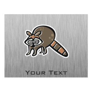 Raccoon; Brushed metal-look Postcard