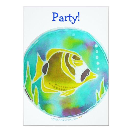 Raccoon Butterfly Fish Batik Art Card
