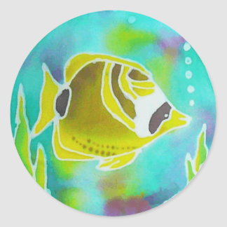 Raccoon Butterfly Fish Batik Art Classic Round Sticker