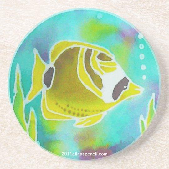 Raccoon Butterfly Fish Batik Art Drinks Coaster