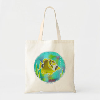 Raccoon Butterfly Fish Batik Art Tote Bag