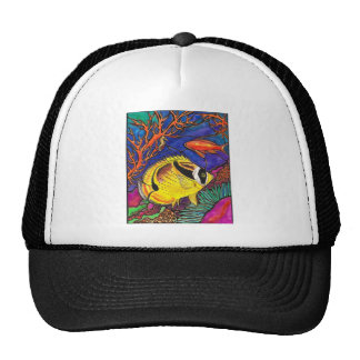 Raccoon Butterflyfish and Seahorse Art Trucker Hat