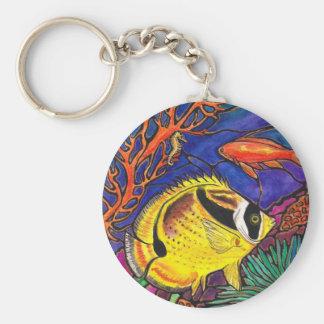 Raccoon Butterflyfish and Seahorse Art Keychain