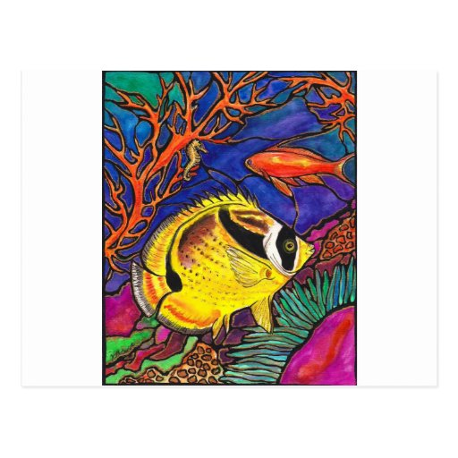 Raccoon Butterflyfish and Seahorse Art Post Cards