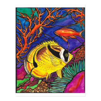 Raccoon Butterflyfish and Seahorse Art Postcard