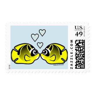 Raccoon Butterflyfish Love Postage Stamp