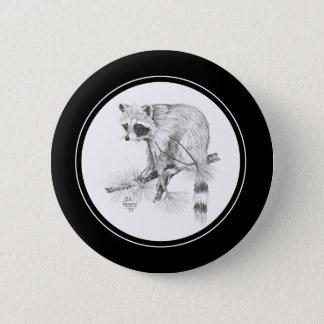 Raccoon Button in pencil