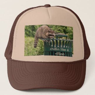 raccoon, chillin like a villian trucker hat