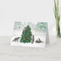 Raccoon Christmas Holiday Card