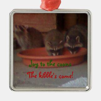 Raccoon Christmas Square Metal Christmas Ornament