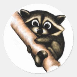 Raccoon Design Classic Round Sticker