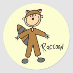 Raccoon Dress Up T-shirts and Gifts Round Stickers