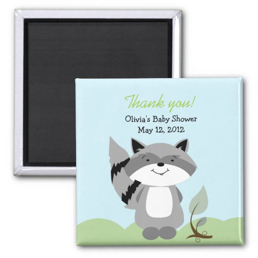 Raccoon Enchanted Forest Baby Shower Favor Magnet