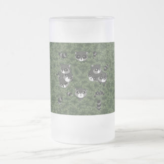 Raccoon Family in a Bush Frosted Glass Beer Mug
