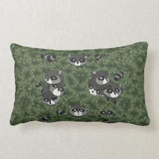 Raccoon Family in a Bush Lumbar Pillow
