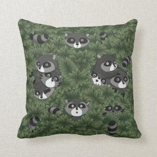 Raccoon Family in a Bush Throw Pillow