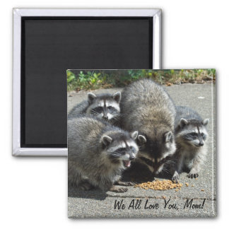 Raccoon Family Mom Magnet