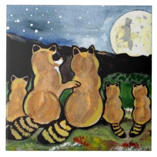 "Raccoon Family Watching Moon Blue 6"" Tile Trivet"