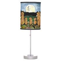 Raccoon Family Watching the Moon, Cute Lamp! Desk Lamp