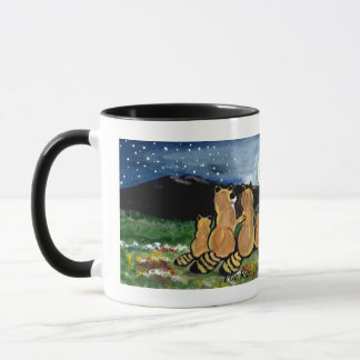 Raccoon Family Watching the Moon, Mug, Cute! Mug