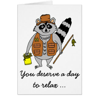 Raccoon Fisherman Father's Day Card
