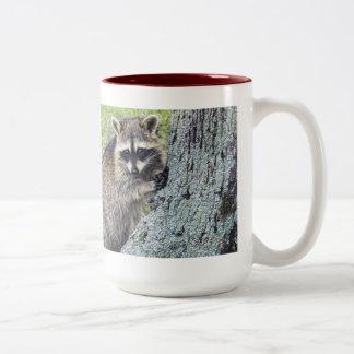 """Raccoon & Geraniums Two-Tone Coffee Mug"