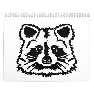 Raccoon head wall calendars
